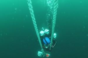 Montare senzor balize cu nava Mare Nigrum in Marea Neagra - Nemo Pro Diving 005